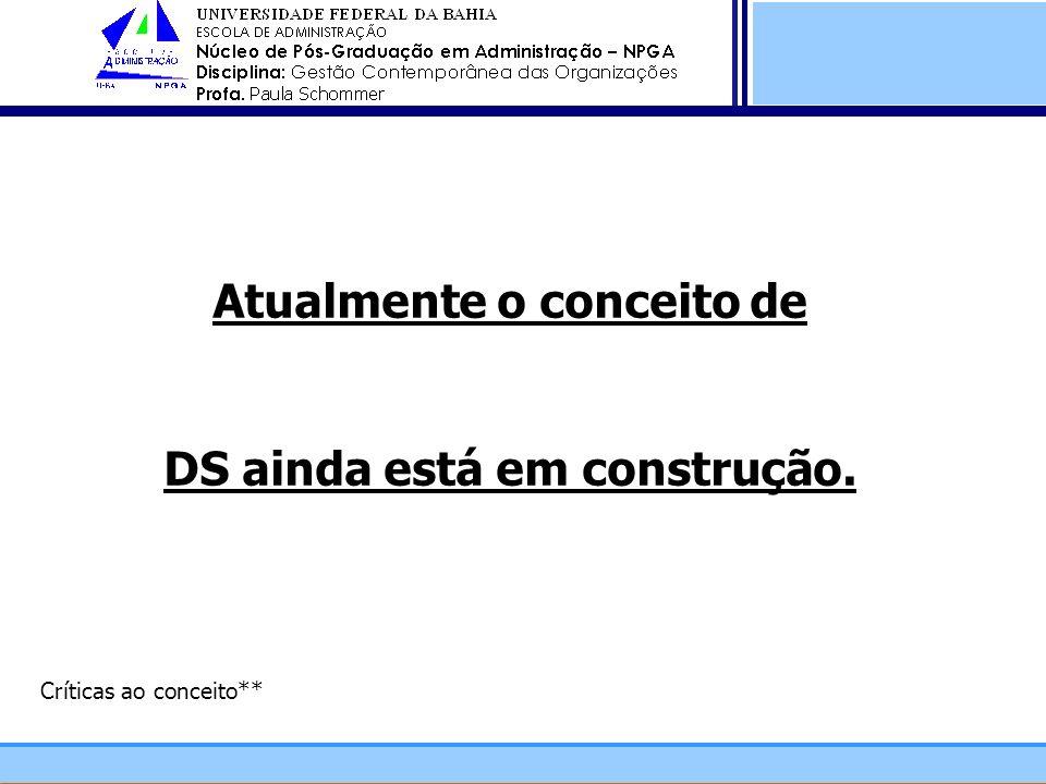 Atualmente o conceito de DS ainda está em construção. Críticas ao conceito**