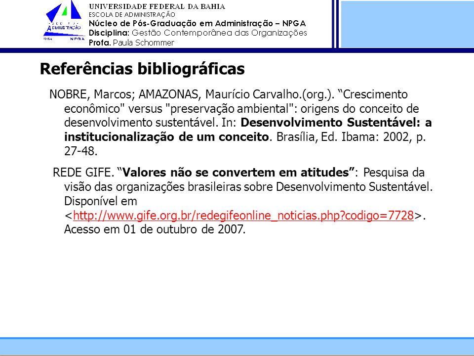 Referências bibliográficas NOBRE, Marcos; AMAZONAS, Maurício Carvalho.(org.). Crescimento econômico