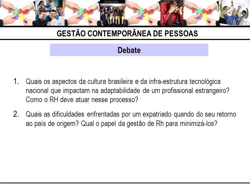GESTÃO CONTEMPORÂNEA DE PESSOAS Debate 1. Quais os aspectos da cultura brasileira e da infra-estrutura tecnológica nacional que impactam na adaptabili