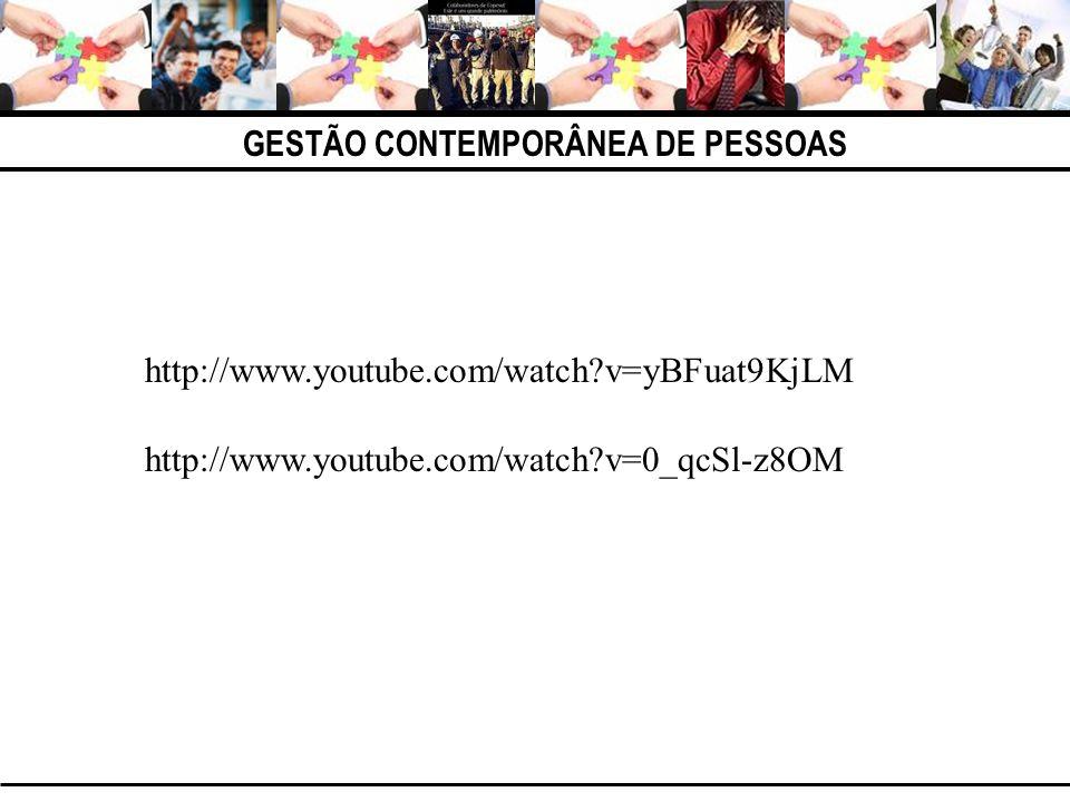 GESTÃO CONTEMPORÂNEA DE PESSOAS http://www.youtube.com/watch?v=yBFuat9KjLM http://www.youtube.com/watch?v=0_qcSl-z8OM