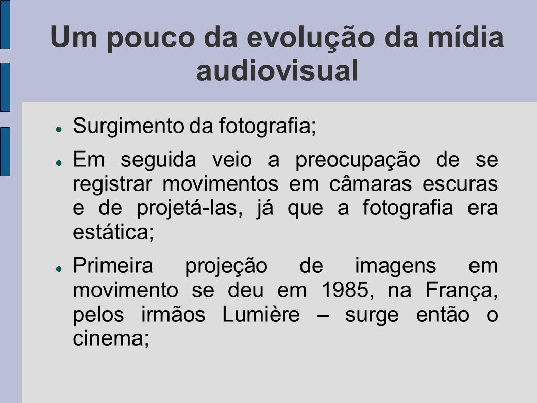 Um pouco da evolução da mídia audiovisual Surgimento da fotografia; Em seguida veio a preocupação de se registrar movimentos em câmaras escuras e de p