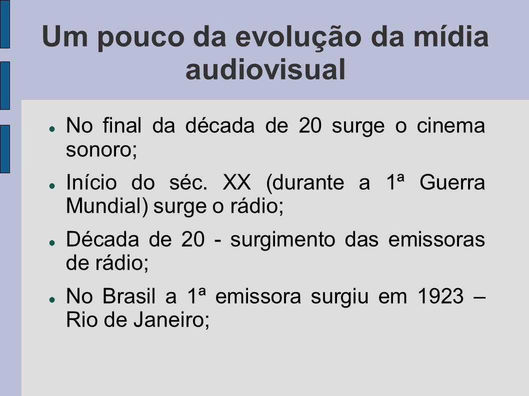 Um pouco da evolução da mídia audiovisual No final da década de 20 surge o cinema sonoro; Início do séc. XX (durante a 1ª Guerra Mundial) surge o rádi
