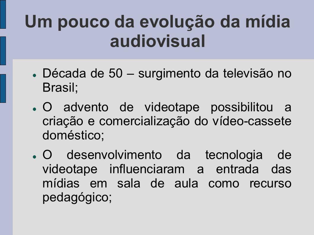 Um pouco da evolução da mídia audiovisual Década de 50 – surgimento da televisão no Brasil; O advento de videotape possibilitou a criação e comerciali