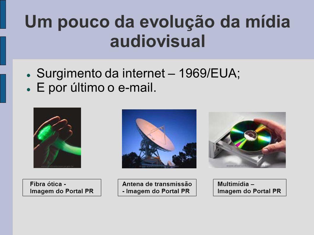 Um pouco da evolução da mídia audiovisual Surgimento da internet – 1969/EUA; E por último o e-mail. Multimídia – Imagem do Portal PR Antena de transmi