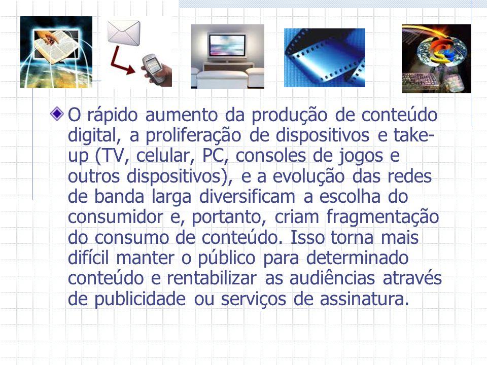 O rápido aumento da produção de conteúdo digital, a proliferação de dispositivos e take- up (TV, celular, PC, consoles de jogos e outros dispositivos)