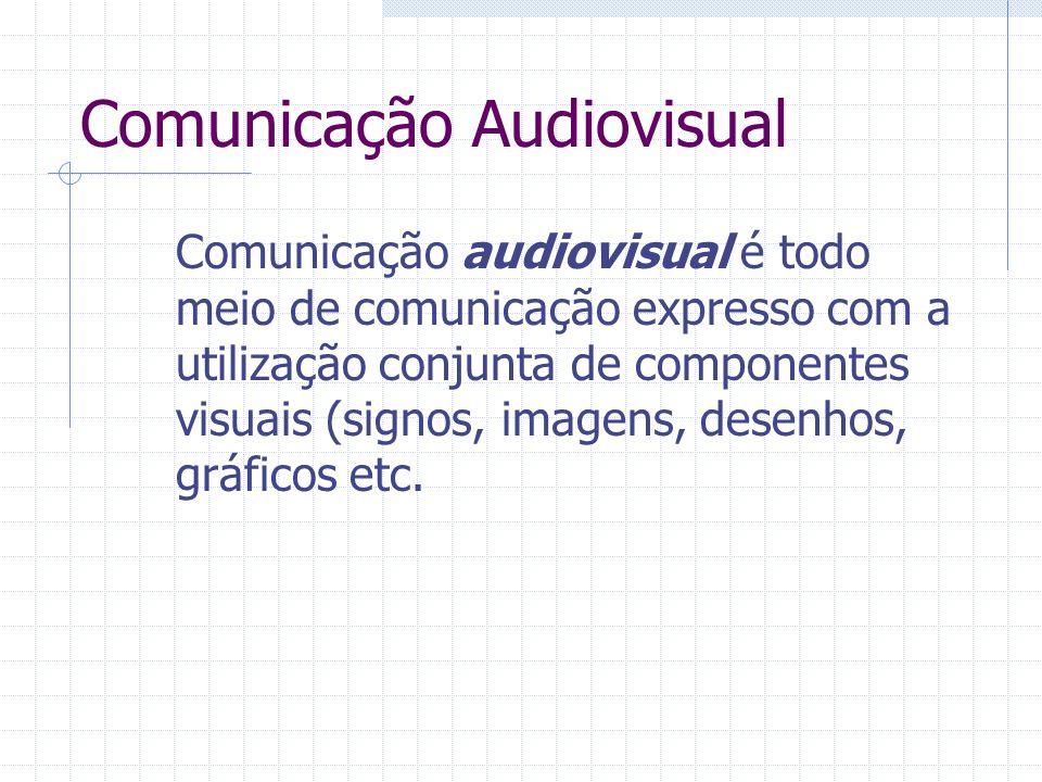 Comunicação Audiovisual Comunicação audiovisual é todo meio de comunicação expresso com a utilização conjunta de componentes visuais (signos, imagens,
