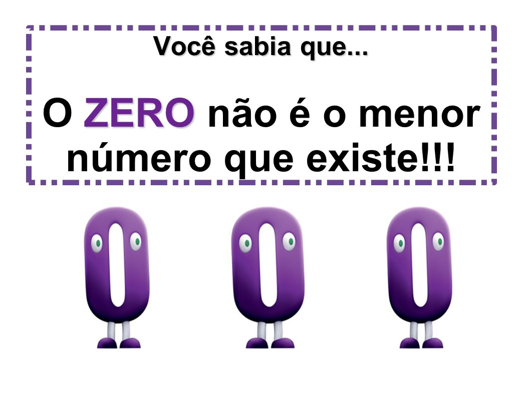 Você sabia que... ZERO Você sabia que... O ZERO não é o menor número que existe!!!