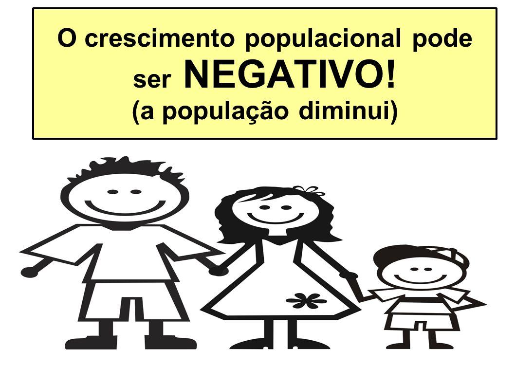O crescimento populacional pode ser NEGATIVO! (a população diminui)