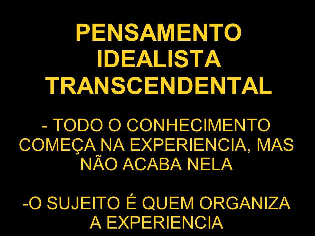 PENSAMENTO IDEALISTA TRANSCENDENTAL - TODO O CONHECIMENTO COMEÇA NA EXPERIENCIA, MAS NÃO ACABA NELA -O SUJEITO É QUEM ORGANIZA A EXPERIENCIA