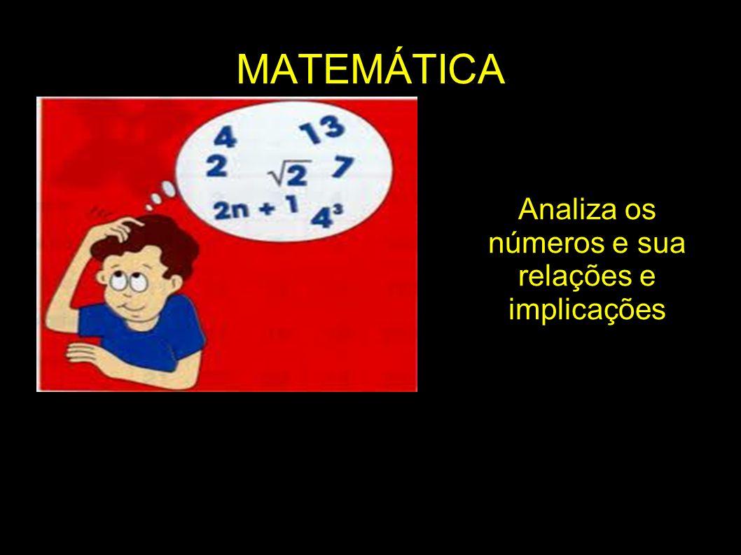 MATEMÁTICA Analiza os números e sua relações e implicações