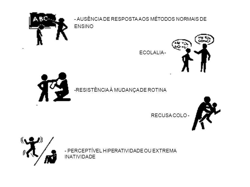 - AUSÊNCIA DE RESPOSTA AOS MÉTODOS NORMAIS DE ENSINO ECOLALIA - -RESISTÊNCIA À MUDANÇA DE ROTINA RECUSA COLO - - PERCEPTÍVEL HIPERATIVIDADE OU EXTREMA