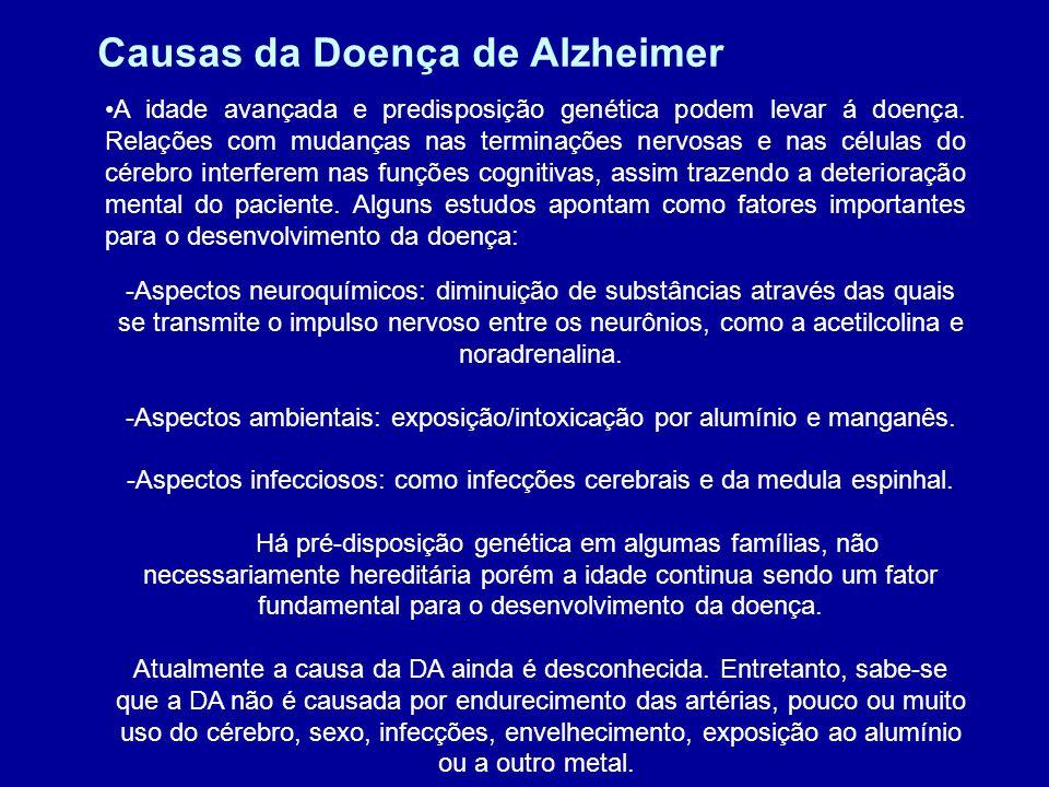 Prevenção da DA Não há uma forma de prevenção definida contra o Alzheimer, apenas estudos que podem ser levados em conta, onde exercícios físicos e mentais poderiam formar uma reserva cognitiva e assim preservar o cérebro e suas propriedades contra os efeitos da doença, que o degeneraria de forma gradativa, conforme a idade avançasse.