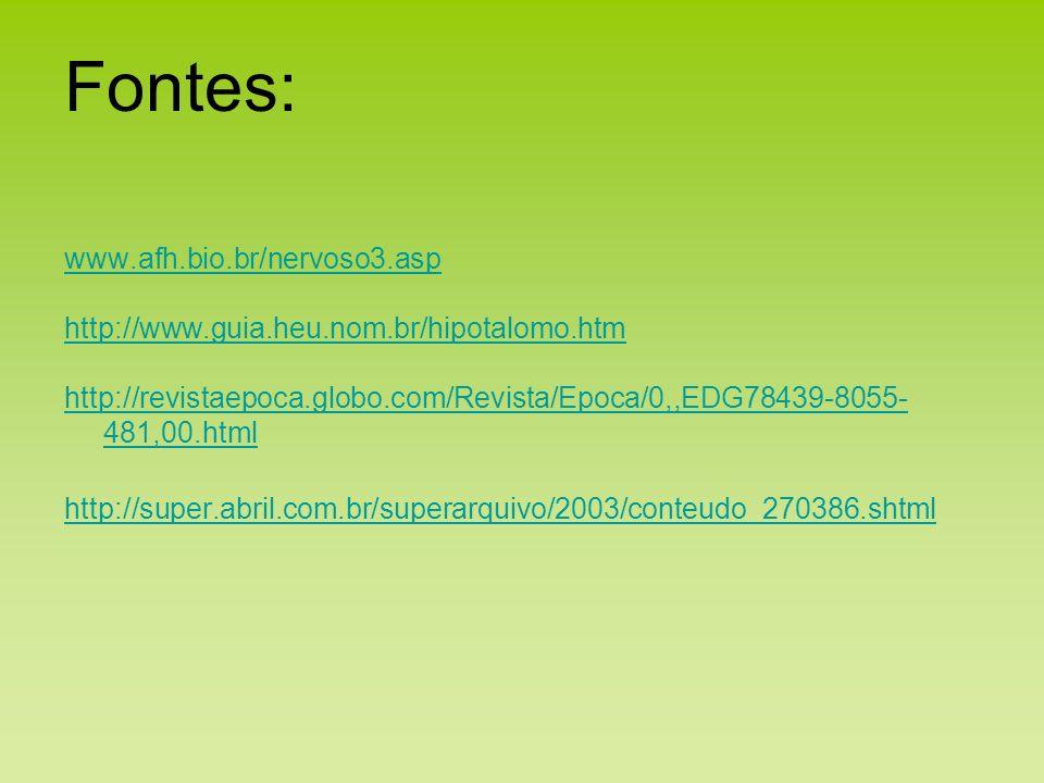 www.afh.bio.br/nervoso3.asp http://www.guia.heu.nom.br/hipotalomo.htm http://revistaepoca.globo.com/Revista/Epoca/0,,EDG78439-8055- 481,00.html http:/