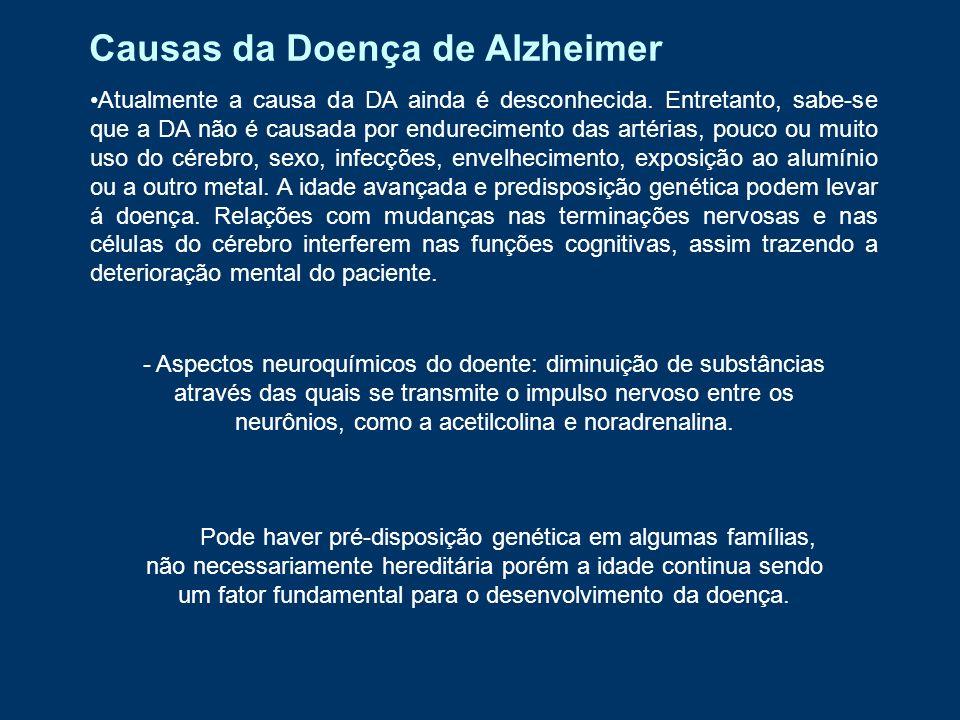 Prevenção da DA Não há uma forma de prevenção definida contra o Alzheimer, apenas estudos que podem ser levados em conta, onde exercícios físicos e mentais poderiam formar uma reserva cognitiva e assim preservar o cérebro e suas propriedades contra os efeitos da doença, que o degenera de forma gradativa, conforme a idade avança, porém são apenas estudos.