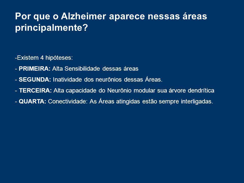 Por que o Alzheimer aparece nessas áreas principalmente? -Existem 4 hipóteses: - PRIMEIRA: Alta Sensibilidade dessas áreas - SEGUNDA: Inatividade dos