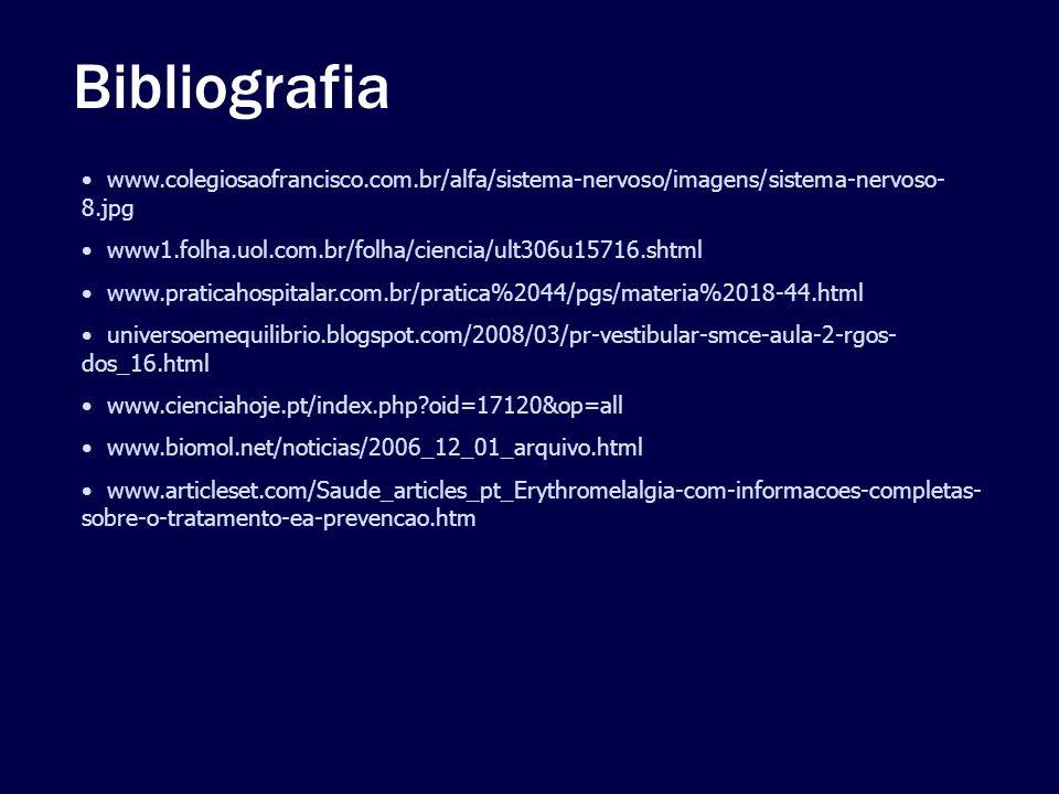 Bibliografia www.colegiosaofrancisco.com.br/alfa/sistema-nervoso/imagens/sistema-nervoso- 8.jpg www1.folha.uol.com.br/folha/ciencia/ult306u15716.shtml