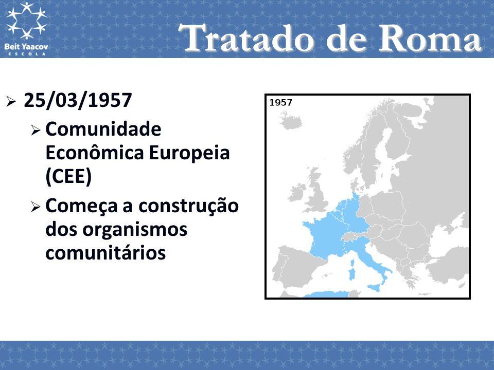25/03/1957 Comunidade Econômica Europeia (CEE) Começa a construção dos organismos comunitários Tratado de Roma