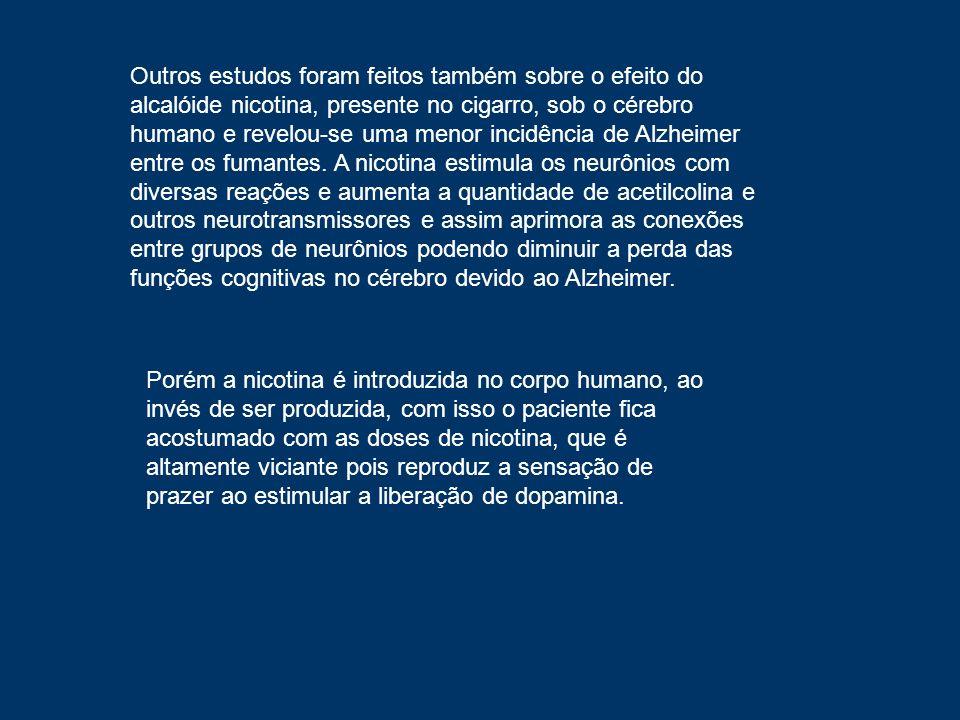 Outros estudos foram feitos também sobre o efeito do alcalóide nicotina, presente no cigarro, sob o cérebro humano e revelou-se uma menor incidência d