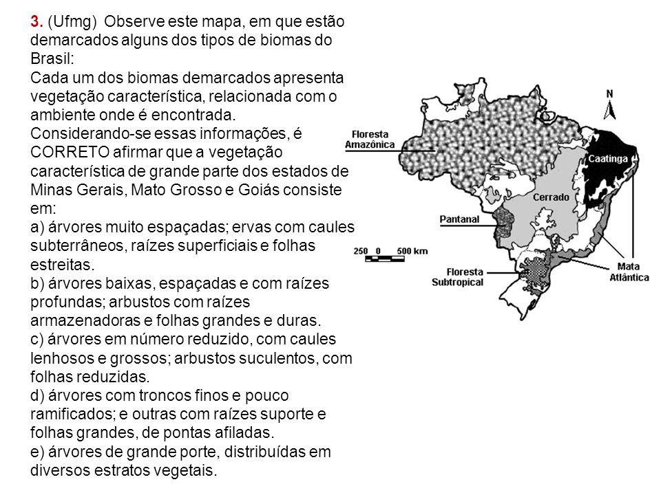 3. (Ufmg) Observe este mapa, em que estão demarcados alguns dos tipos de biomas do Brasil: Cada um dos biomas demarcados apresenta vegetação caracterí