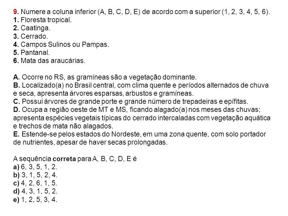 9. Numere a coluna inferior (A, B, C, D, E) de acordo com a superior (1, 2, 3, 4, 5, 6). 1. Floresta tropical. 2. Caatinga. 3. Cerrado. 4. Campos Suli
