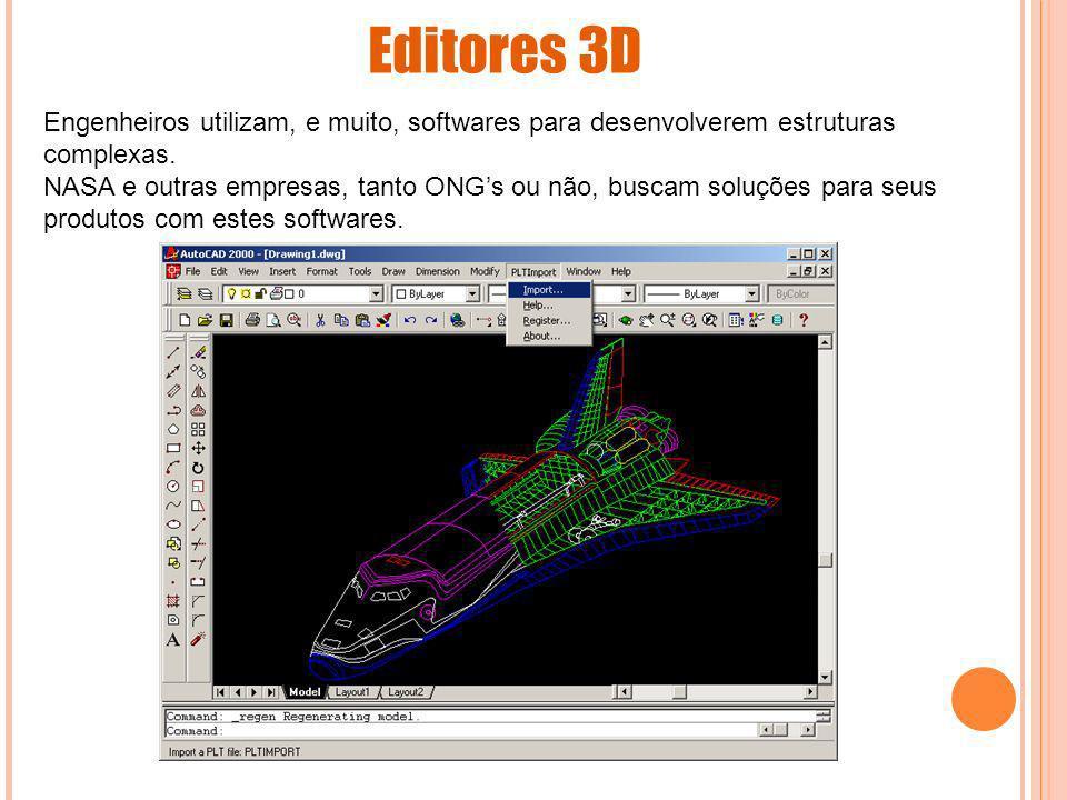 Editores 3D Engenheiros utilizam, e muito, softwares para desenvolverem estruturas complexas. NASA e outras empresas, tanto ONGs ou não, buscam soluçõ