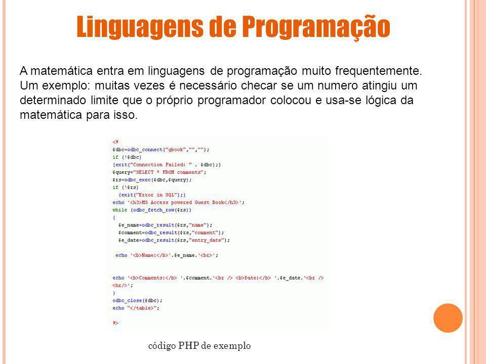 Linguagens de Programação A matemática entra em linguagens de programação muito frequentemente. Um exemplo: muitas vezes é necessário checar se um num