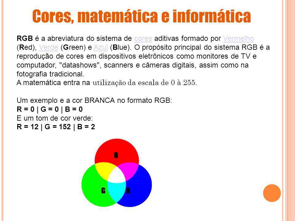 Cores, matemática e informática RGB é a abreviatura do sistema de cores aditivas formado por Vermelho (Red), Verde (Green) e Azul (Blue). O propósito