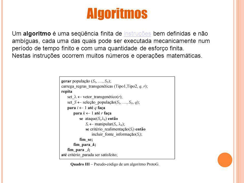 Um algoritmo é uma seqüência finita de instruções bem definidas e não ambíguas, cada uma das quais pode ser executada mecanicamente num período de tem