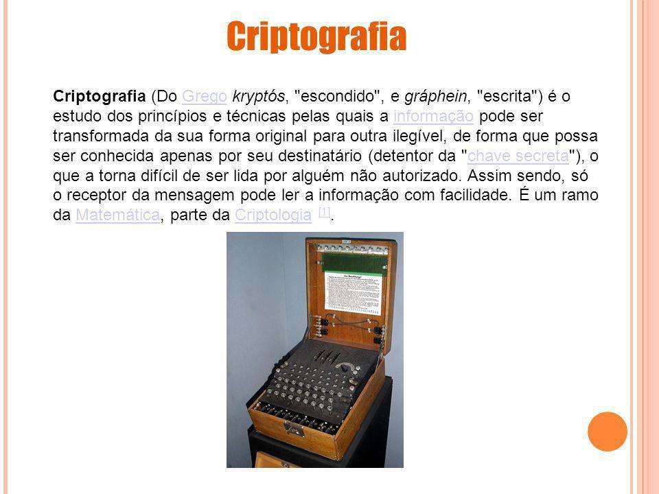 Criptografia (Do Grego kryptós,