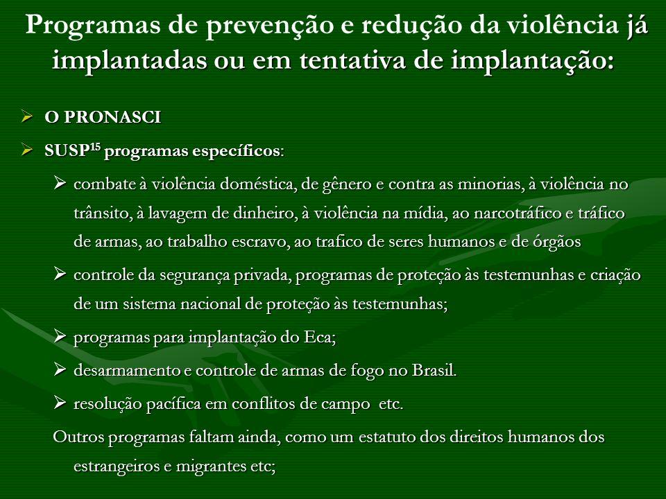 O PRONASCI O PRONASCI SUSP 15 programas específicos: SUSP 15 programas específicos: combate à violência doméstica, de gênero e contra as minorias, à v