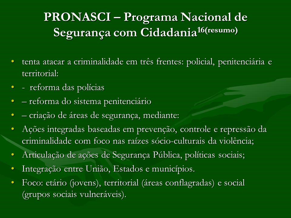 PRONASCI – Programa Nacional de Segurança com Cidadania 16(resumo) tenta atacar a criminalidade em três frentes: policial, penitenciária e territorial