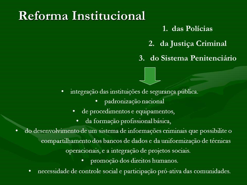 Reforma Institucional integração das instituições de segurança pública. padronização nacional de procedimentos e equipamentos, da formação profissiona
