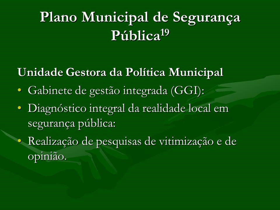 Plano Municipal de Segurança Pública 19 Unidade Gestora da Política Municipal Gabinete de gestão integrada (GGI):Gabinete de gestão integrada (GGI): D