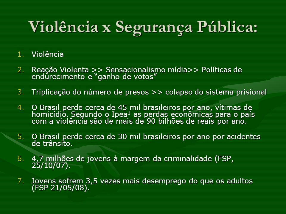 Genocídio em relação à juventude brasileira: Nos últimos 25 anos, mais de um milhão de jovens foram mortos;Nos últimos 25 anos, mais de um milhão de jovens foram mortos; principalmente a juventude pobre do sexo masculino, e, em particular, os jovens negros 2.principalmente a juventude pobre do sexo masculino, e, em particular, os jovens negros 2.