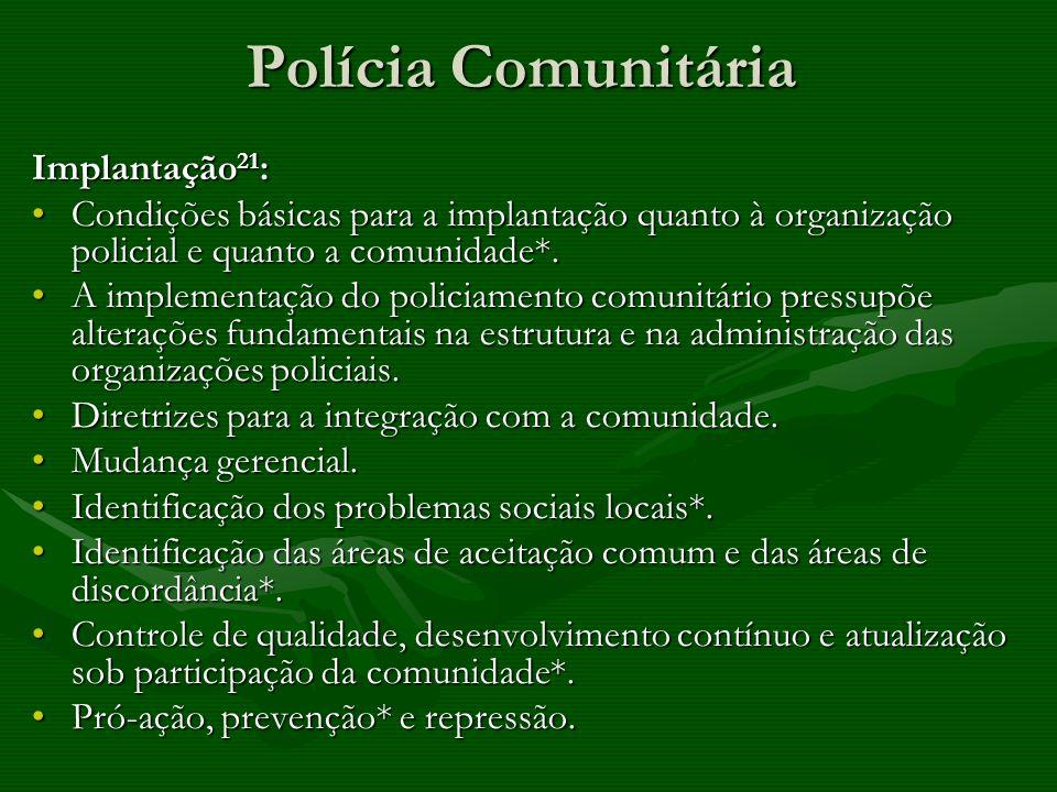 Polícia Comunitária Implantação 21 : Condições básicas para a implantação quanto à organização policial e quanto a comunidade*.Condições básicas para