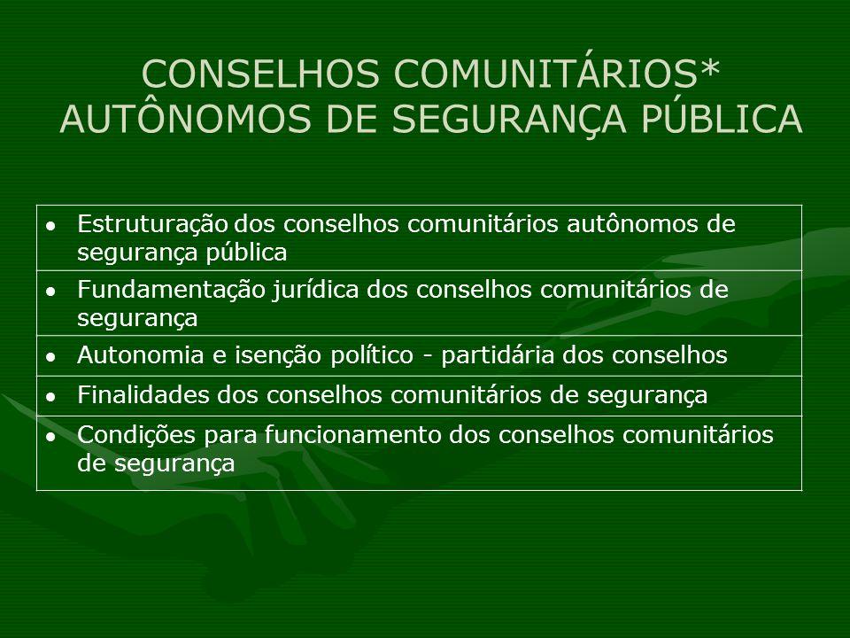 CONSELHOS COMUNIT Á RIOS* AUTÔNOMOS DE SEGURAN Ç A P Ú BLICA Estrutura ç ão dos conselhos comunit á rios autônomos de seguran ç a p ú blica Fundamenta