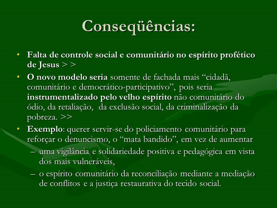 Conseqüências: Falta de controle social e comunitário no espírito profético de Jesus > >Falta de controle social e comunitário no espírito profético d