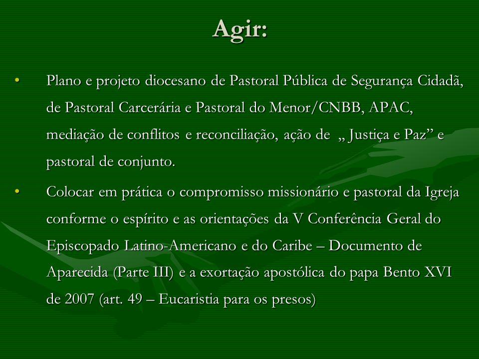 Agir: Plano e projeto diocesano de Pastoral Pública de Segurança Cidadã, de Pastoral Carcerária e Pastoral do Menor/CNBB, APAC, mediação de conflitos
