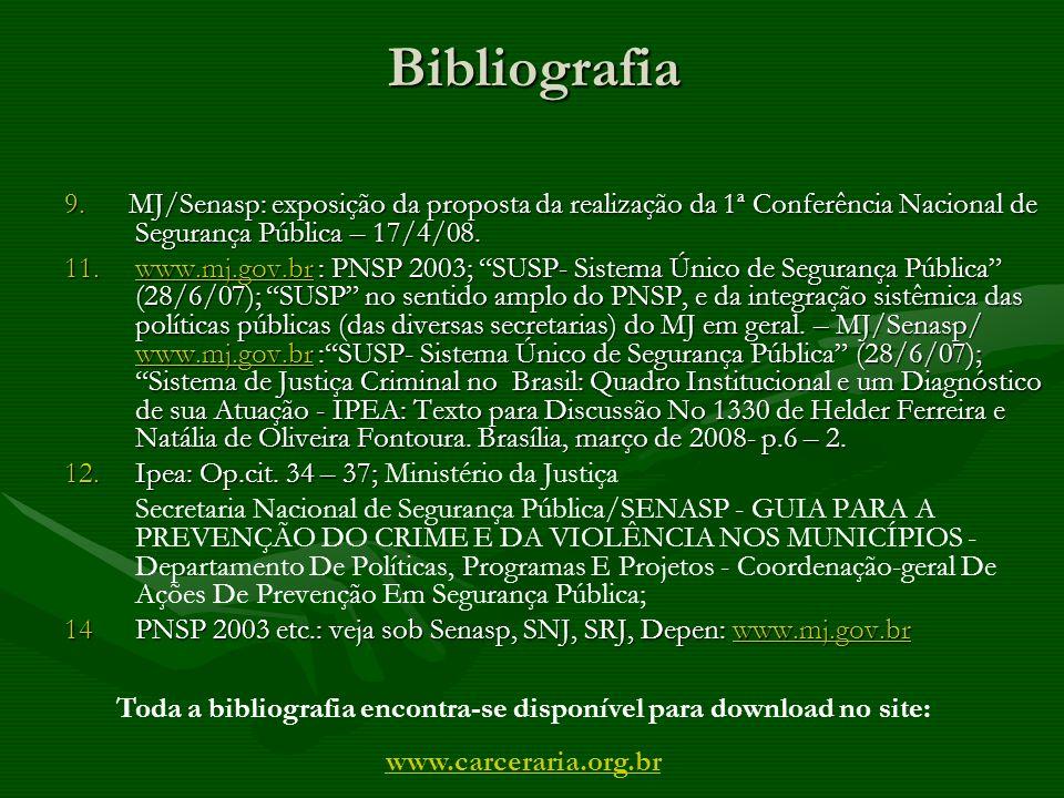 Bibliografia 9. MJ/Senasp: exposição da proposta da realização da 1ª Conferência Nacional de Segurança Pública – 17/4/08. 11.www.mj.gov.br : PNSP 2003