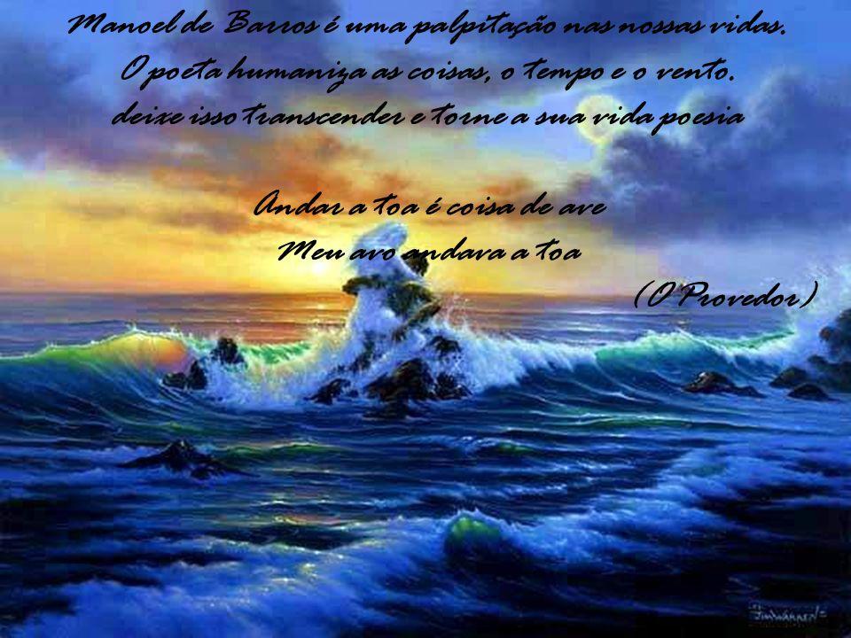 Manoel de Barros é uma palpitação nas nossas vidas. O poeta humaniza as coisas, o tempo e o vento. deixe isso transcender e torne a sua vida poesia An