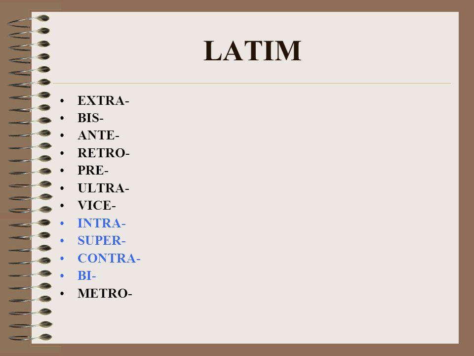 LATIM EXTRA- BIS- ANTE- RETRO- PRE- ULTRA- VICE- INTRA- SUPER- CONTRA- BI- METRO-