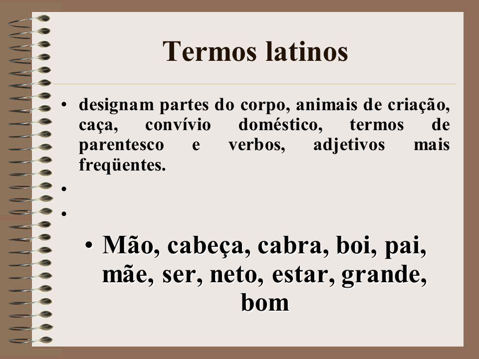 Termos latinos designam partes do corpo, animais de criação, caça, convívio doméstico, termos de parentesco e verbos, adjetivos mais freqüentes. Mão,
