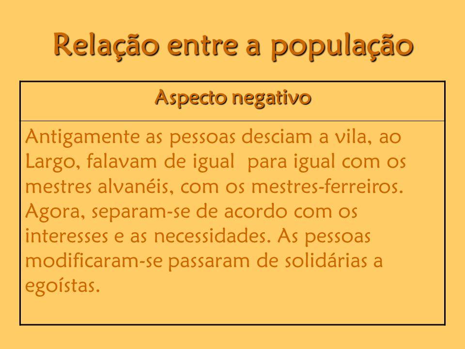 Relação entre a população Aspecto negativo Antigamente as pessoas desciam a vila, ao Largo, falavam de igual para igual com os mestres alvanéis, com os mestres-ferreiros.