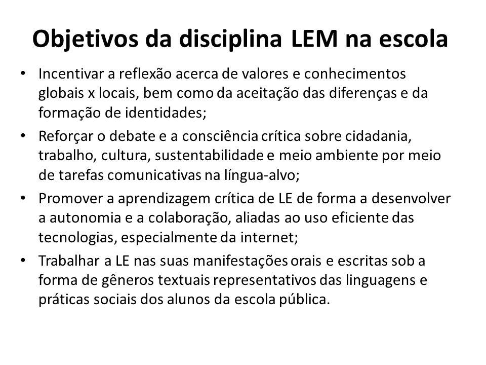 Objetivos da disciplina LEM na escola Em dupla, reflita sobre possíveis maneiras de colocar tais objetivos em prática por meio de procedimentos, temas, sequências didáticas, projetos, atividades, etc