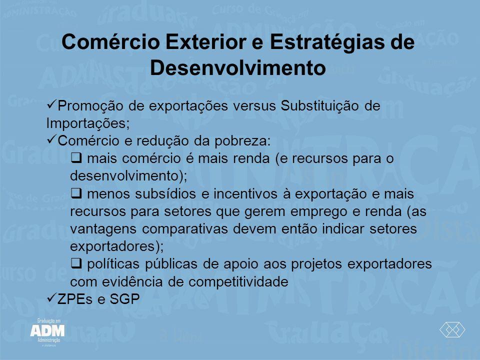 Comércio Exterior e Estratégias de Desenvolvimento Promoção de exportações versus Substituição de Importações; Comércio e redução da pobreza: mais com