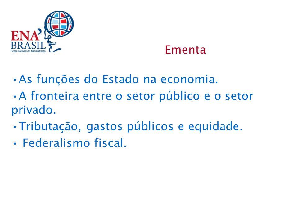 As funções do Estado na economia. A fronteira entre o setor público e o setor privado. Tributação, gastos públicos e equidade. Federalismo fiscal. Eme
