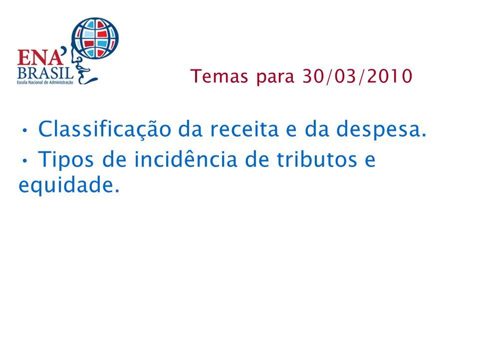 Classificação da receita e da despesa. Tipos de incidência de tributos e equidade. Temas para 30/03/2010