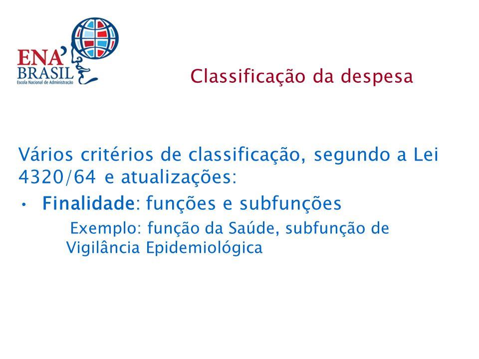 Vários critérios de classificação, segundo a Lei 4320/64 e atualizações: Finalidade: funções e subfunções Exemplo: função da Saúde, subfunção de Vigilância Epidemiológica Classificação da despesa