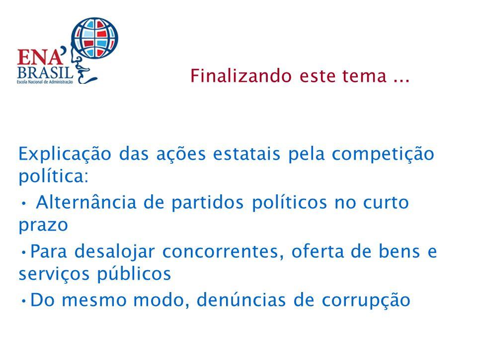 Explicação das ações estatais pela competição política: Alternância de partidos políticos no curto prazo Para desalojar concorrentes, oferta de bens e