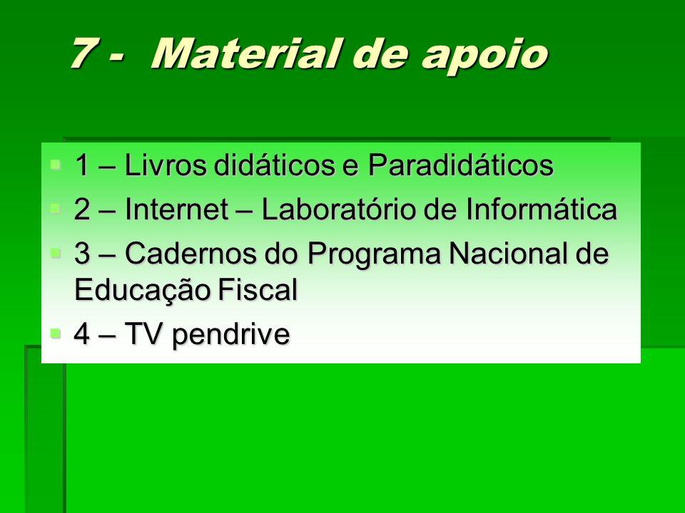 7 - Material de apoio 1 – Livros didáticos e Paradidáticos 1 – Livros didáticos e Paradidáticos 2 – Internet – Laboratório de Informática 2 – Internet